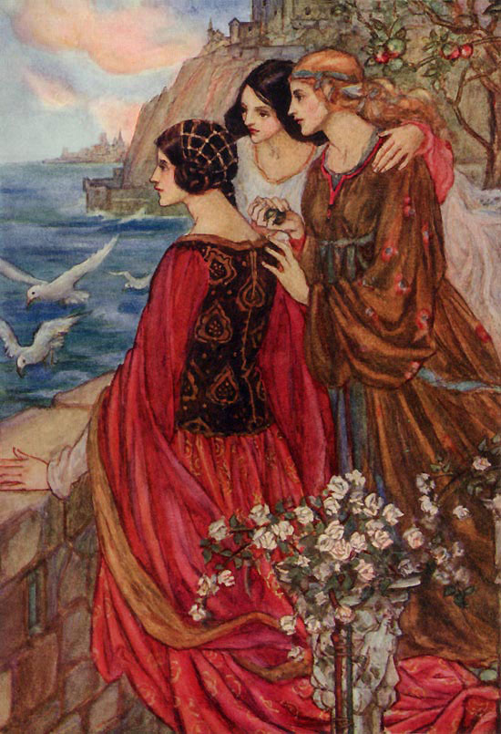 The Sailing of the Sword, illustration by Emma Florence Harrison to The Early Poems of William Morris