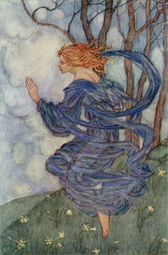 The Wind, illustration by Emma Florence Harrison to The Early Poems of William Morris