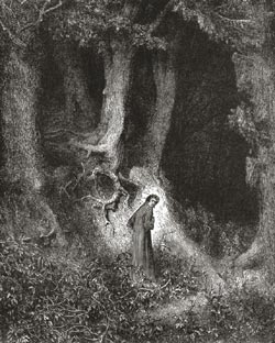 Illustration to Dante's Divine Comedy, Inferno by Gustave Dor�. Plate 1: Dante in the Dusky Woods