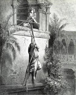 Illustration to The Bible: David escapes through the window