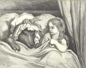 Illustration to Little Red Riding Hood. Little Red Riding Hood in Bed with the Wolf