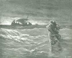 Illustration to The Bible (John): Jesus Walks on Water