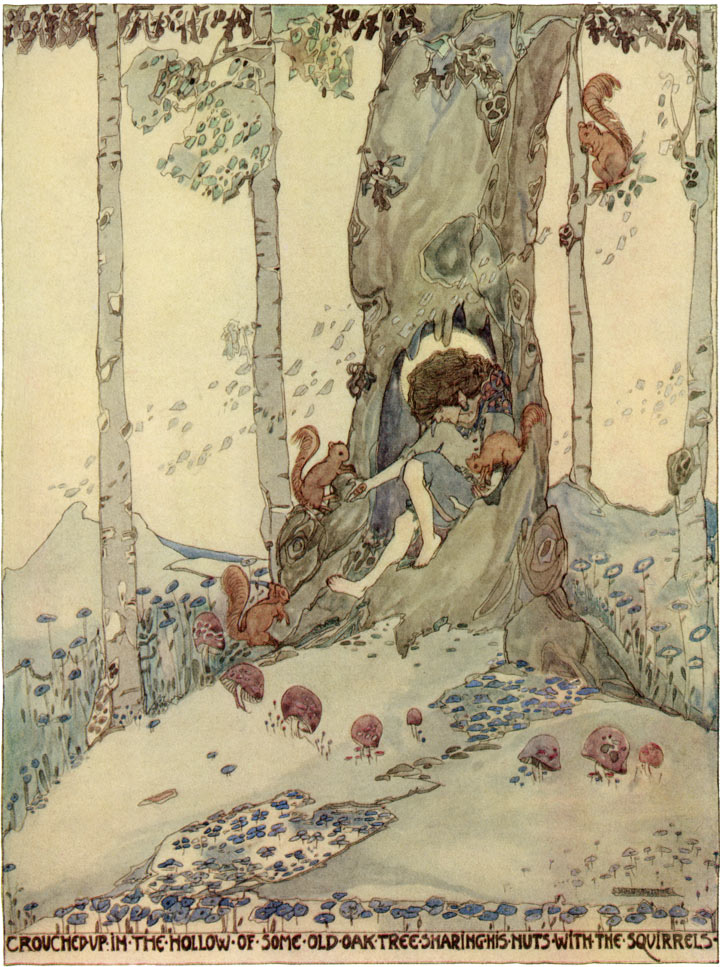 Crouched in the Hollow of Some Old Oak Tree, Jessie M. King art print