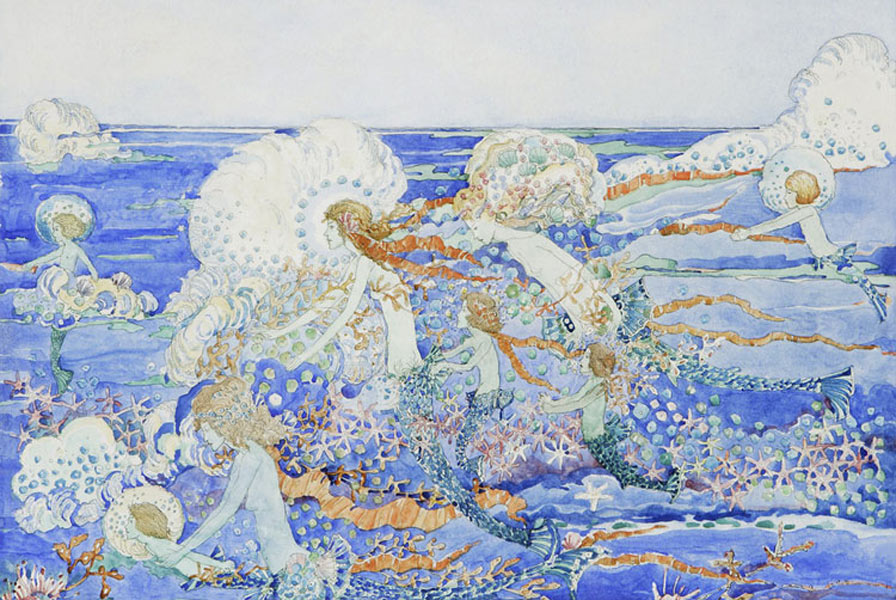 Mermaids Playing in the Surf, Jessie M. King art print