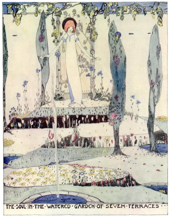 The Soul in the Watered Garden of Seven Terraces, Jessie M. King art print