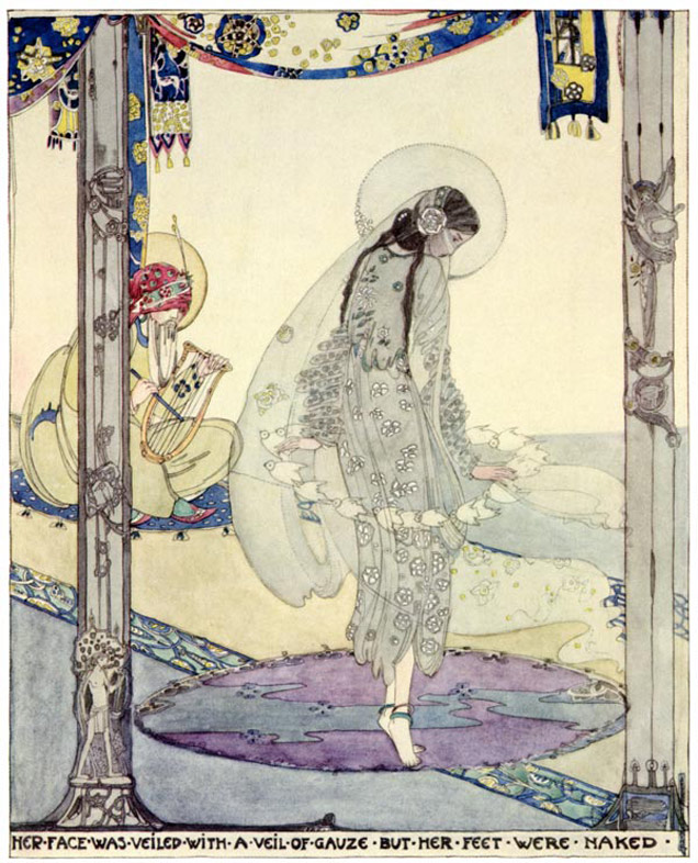 The Fisherman and His Soul, Her face was veiled but her feet were naked. Jessie M. King art print