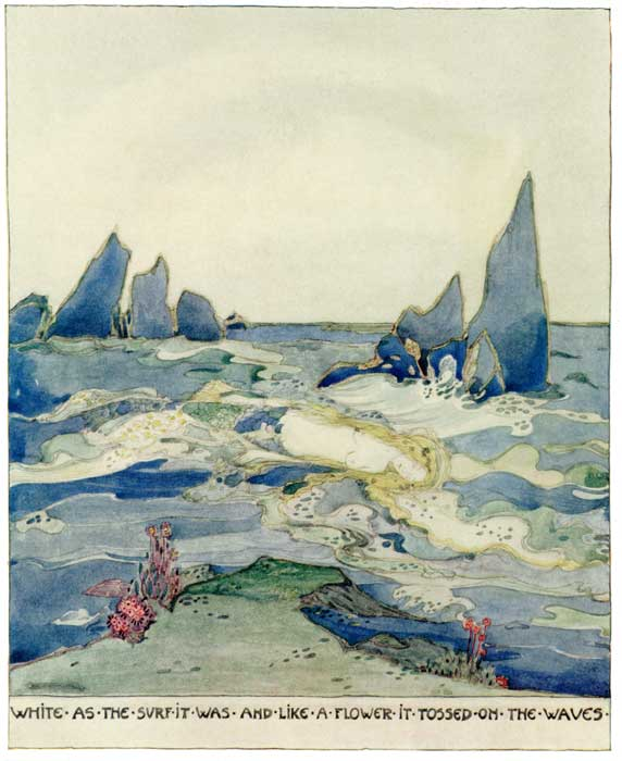 White as the Surf it Was and Like a Flower it Tossed on the Waves, Jessie M. King art print