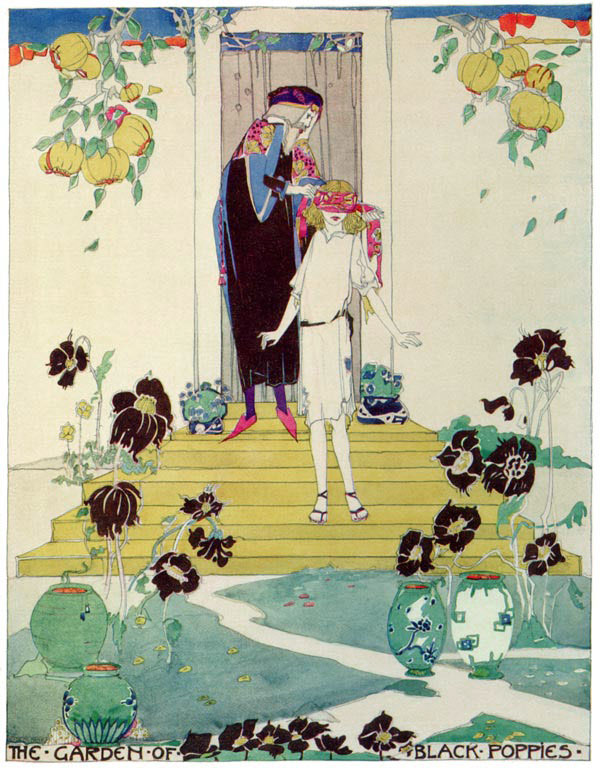 The Garden of Black Poppies, Jessie M. King art print