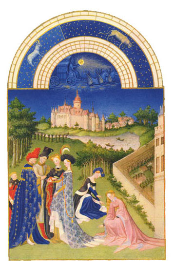The Chateau de Dourdan.  Labors of the Months from the Book of Hours of the Duc de Berry, April