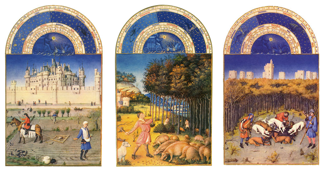The Book of Hours autumn months: October, November, December