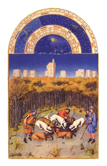 Chateau de Vincennes.  Labors of the Months from the Book of Hours of the Duc de Berry, December