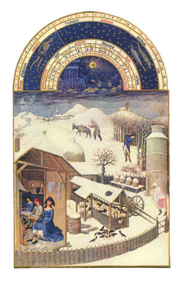 The Village Under the Snow.  Labors of the Months from the Book of Hours of the Duc de Berry, February