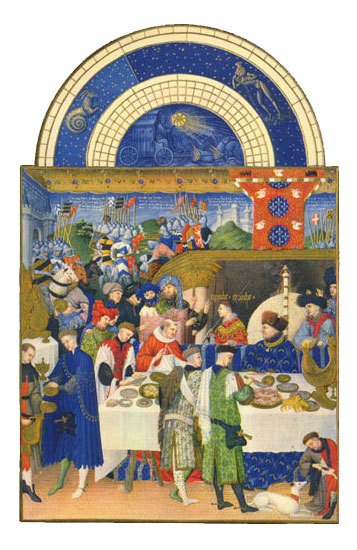 The Duc at Table.  Labors of the Months from the Book of Hours of the Duc de Berry, January