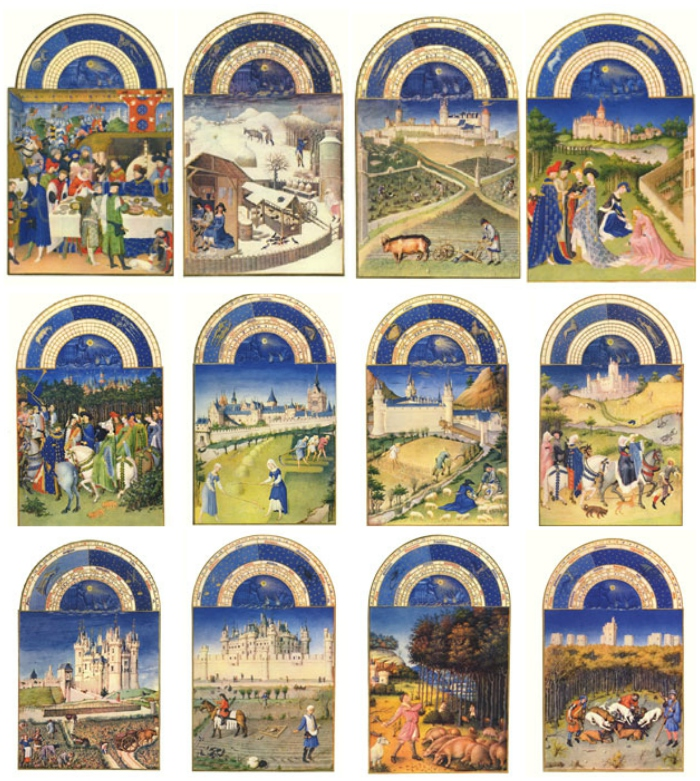 Labors of the Months from Les Tres Riches Heures, medieval Book of Hours of the Duc de Berry
