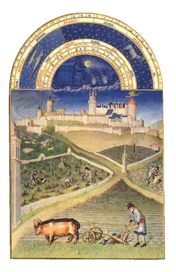 The Chateau de Lusignan.  Labors of the Months from the Book of Hours of the Duc de Berry, March