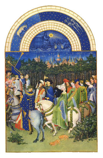 The Town of Riom.  Labors of the Months from the Book of Hours of the Duc de Berry, May