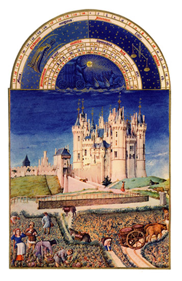 Chateau de Saumer.  Labors of the Months from the Book of Hours of the Duc de Berry, Septembers