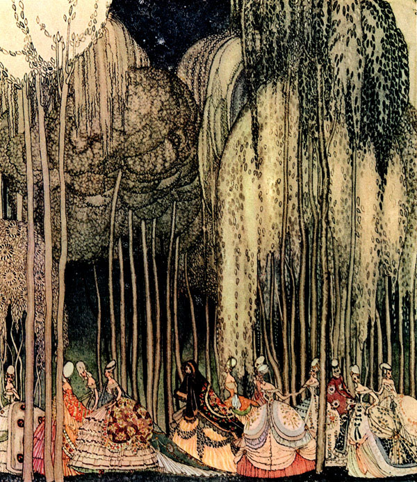 The Princesses, all finely dressed, were on their way to the dance. Illustration to The Twelve Dancing Princesses -  by Kay Nielsen