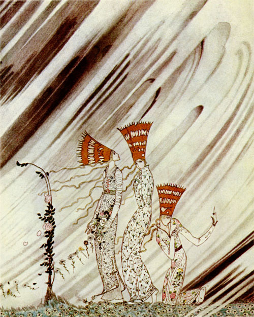 The draught of air caught the dancer, and she flew like a sylph just into the stove to the tin soldier. Kay Nielsen