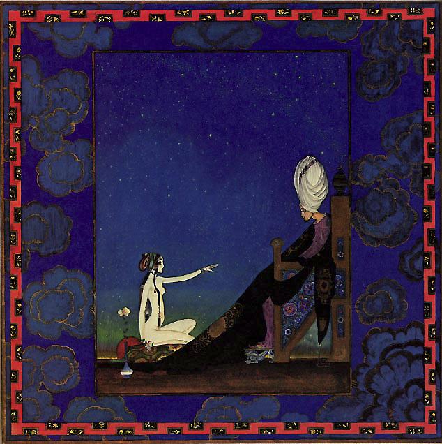 Scheherazade volunteered to marry the Sultan.  Scheherazade - Illustration by Kay Nielsen from The Arabian Nights
