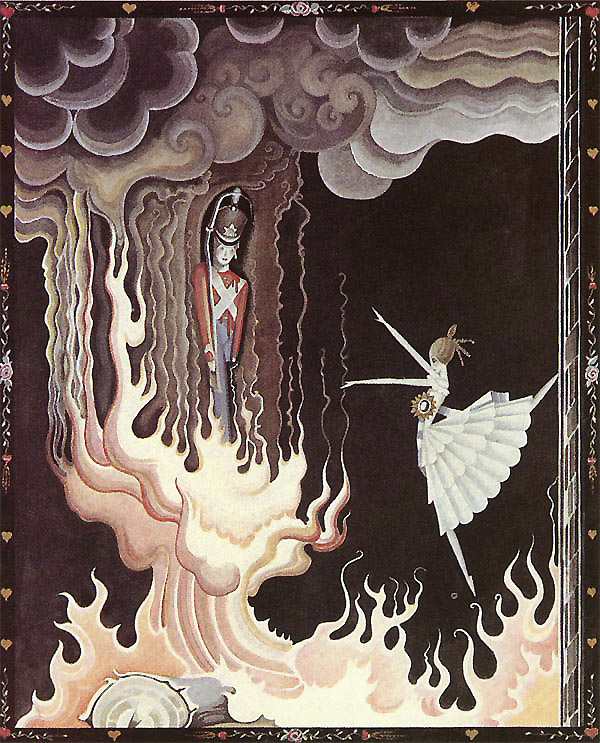 The draught of air caught the dancer, and she flew like a sylph just into the stove to the tin soldier.  The Tin Soldier and the Dancer from The Flying Trunk, a story by Hans Christian Andersen - Illustration by Kay Nielsen from Hans Christian Andersen Fairy Tales