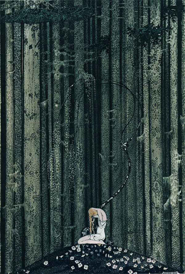 She came to rest at a green place in the dark wood. Illustration to East of the Sun, West of the Moon -  by Kay Nielsen
