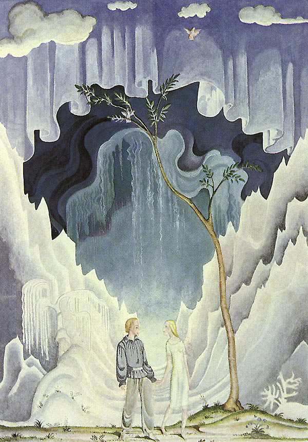 Kay and Gerda looked into each other's eyes, and all at once they understood.  Kay and Gerda from The Snow Queen, a story by Hans Christian Andersen - Illustration by Kay Nielsen from Hans Christian Andersen Fairy Tales
