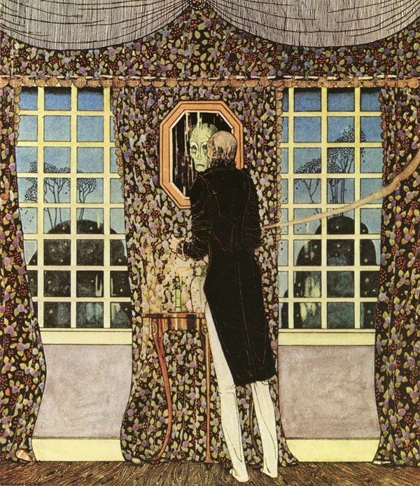 And the mirror told him that his was indeed the withered face and form.  From The Man Who Never Laughed - Illustration by Kay Nielsen from In Powder and Crinoline