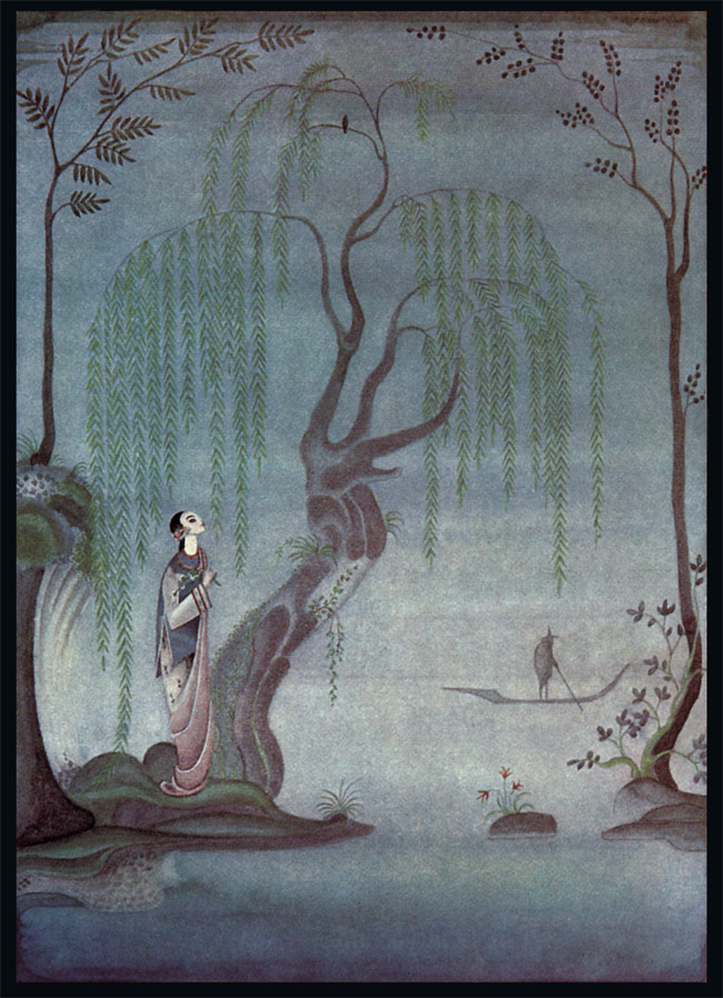 She stood in the garden and heard the singing of the nightingale.  The Nightingale, a story by Hans Christian Andersen - Illustration by Kay Nielsen from Hans Christian Andersen Fairy Tales