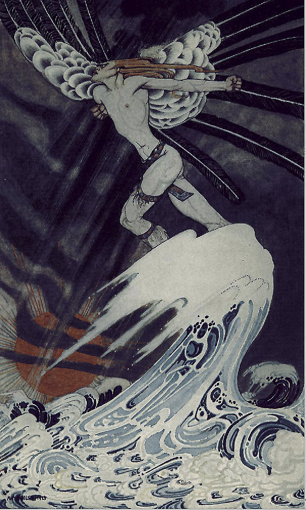 The North Wind went over the sea. Illustration to East of the Sun, West of the Moon -  by Kay Nielsen