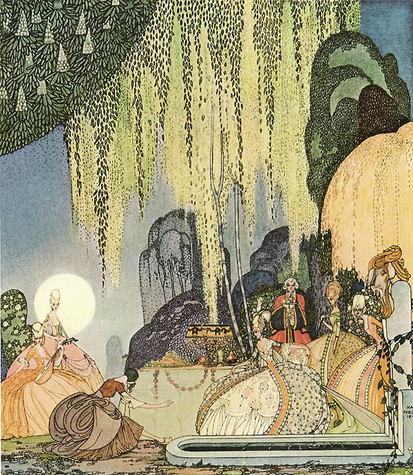 Felicia curtsied before the Queen of the Woods.  The Queen of the Woods from The Pot of Pinks - Illustration by Kay Nielsen from In Powder and Crinoline