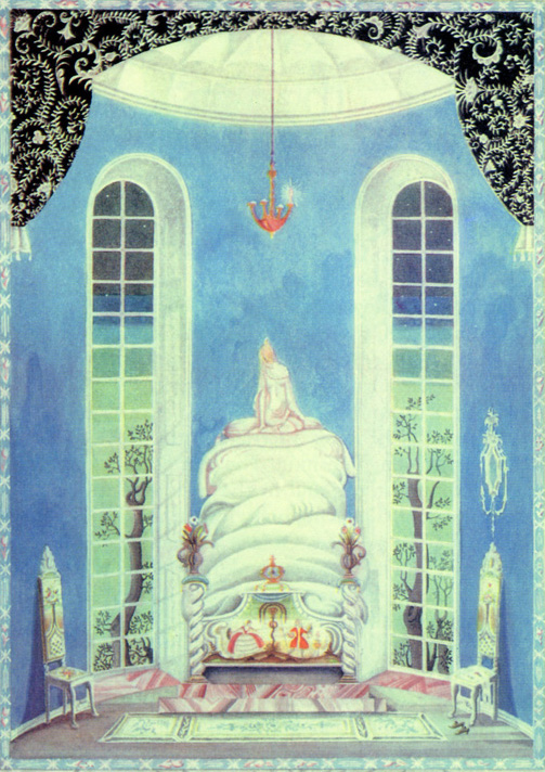 The princess tossed and turned all night long.  The Princess and the Pea from The Real Princess, a story by Hans Christian Andersen - Illustration by Kay Nielsen from Hans Christian Andersen Fairy Tales