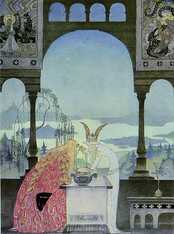 The King went into the Castle, and at first his Queen didn't know him, he was so wan and thin, through wandering so far and being so woeful. Illustration to East of the Sun, West of the Moon -  by Kay Nielsen