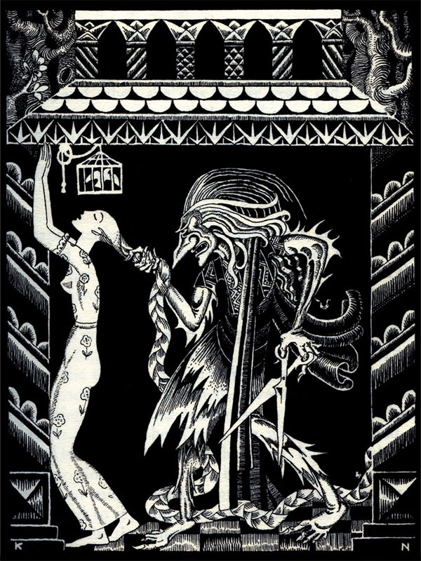 Rapunzel, a story by The Brothers Grimm - Illustration by Kay Nielsen from Fairy Tales of The Brothers Grimm