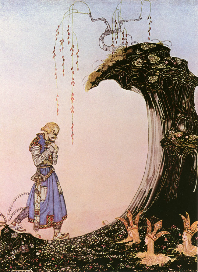 You'll come to three Princesses, whom you will see standing in the earth up to their necks, with only their heads out.  Three Princesses in the Earth - Illustration by Kay Nielsen from The Three Princesses of Whiteland