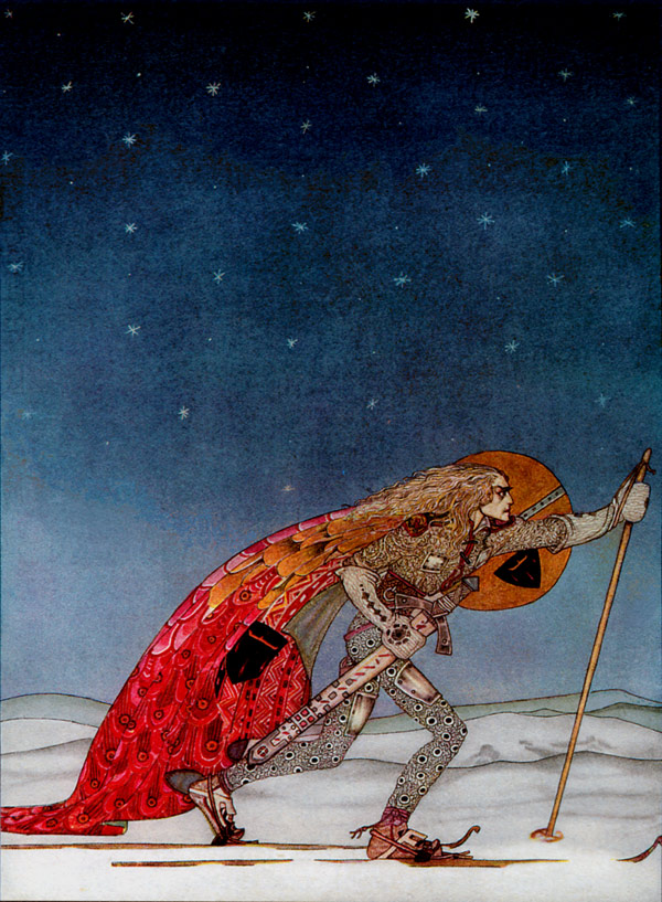 The Man Gave Him a Pair of Snowshoes. Illustration to East of the Sun, West of the Moon -  by Kay Nielsen