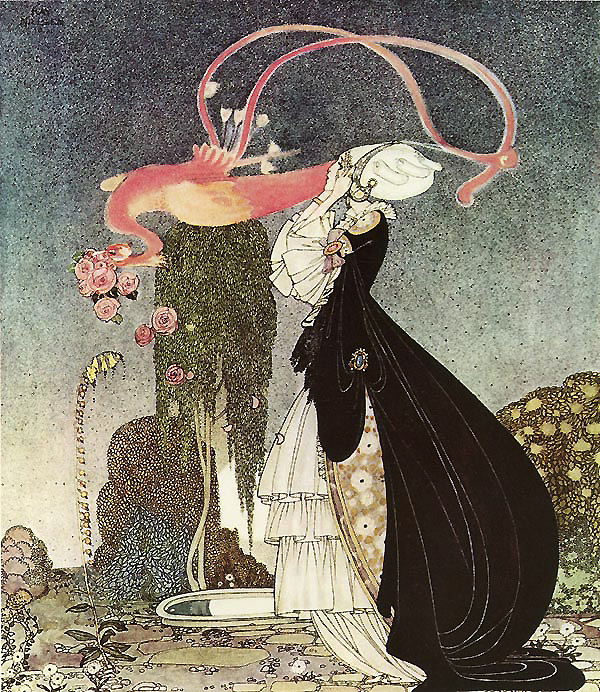 'One day the queen dreamed that an eagle snatched a bouquet of roses from her, and when she woke, the princess had vanished.'  Such a Terrible Dream! from Rosanella, or The Inconstant Prince - Illustration by Kay Nielsen from In Powder and Crinoline