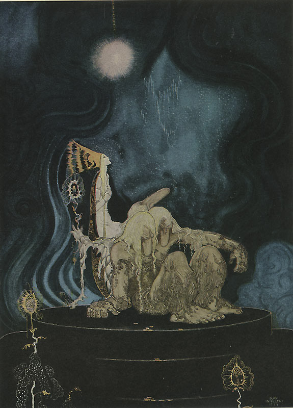 The Troll was willing and soon fell alseep    The Three Princesses in the Blue Mountains  Kay Nielsen illustration