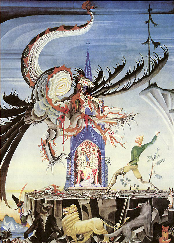 The Seven-Headed Dragon of the Two Brothers, a story by The Brothers Grimm - Illustration by Kay Nielsen from Fairy Tales of The Brothers Grimm