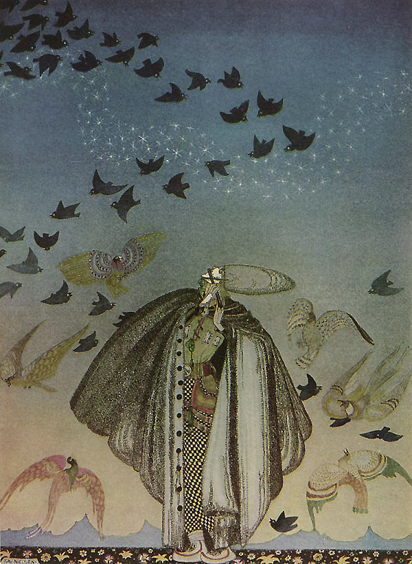 No sooner had he whistled that he heard a whizzing and a whirring from all quarters, and such a large flock of birds swept down that they blacked all the field in which they settled.  A Large Flock of Birds - Illustration by Kay Nielsen from The Three Princesses in the Blue Mountains