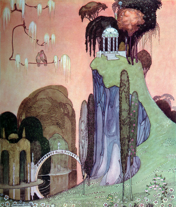 Flora built her summerhouse in the shade of the great trees.  Flora's Summerhouse from The Pot of Pinks - Illustration by Kay Nielsen from In Powder and Crinoline