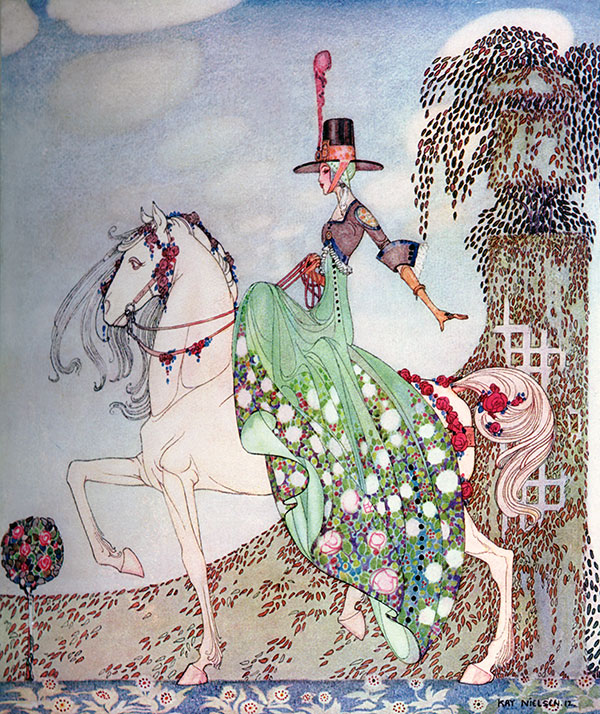The Princess went out riding.  An illustration by Kay Nielsen of Princess Minion Minette in In Powder and Crinoline, 1913.