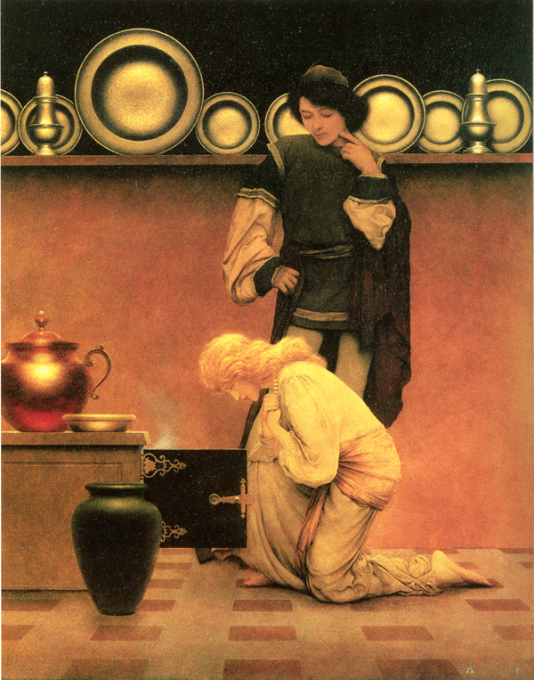 Violetta and the Knave Examine the Tarts, by Maxfield Parrish, illustration to The Knave of Hearts