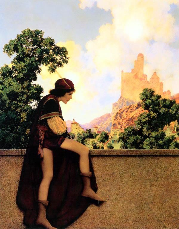 The Knave of Hearts Watching Lady Violetta Depart, by Maxfield Parrish, illustration to The Knave of Hearts
