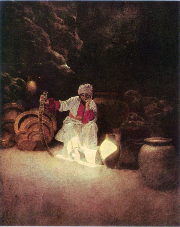 Ali Baba, by Maxfield Parrish, illustration to Arabian Nights
