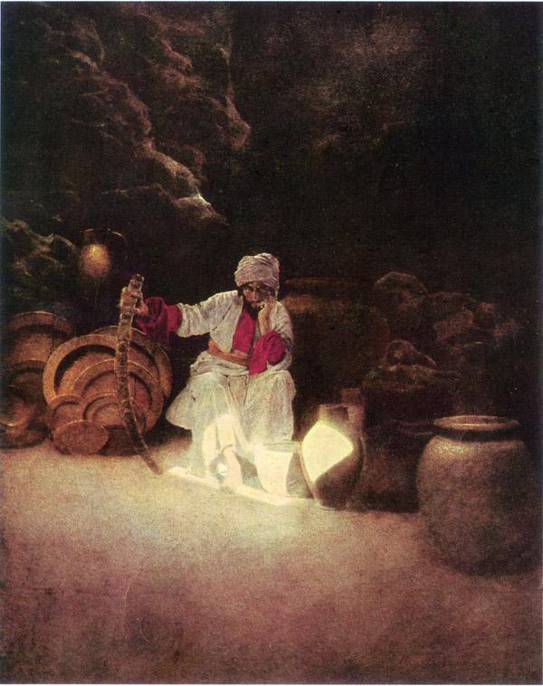 Ali Baba, by Maxfield Parrish, illustration to Arabian Nights