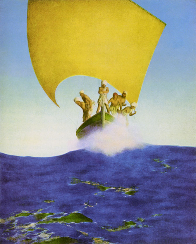 Codadad, by Maxfield Parrish, illustration to Arabian Nights