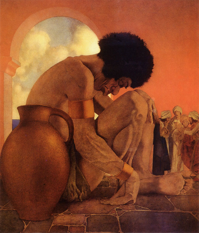 Sinbad Plotting to Kill the Giant, by Maxfield Parrish, illustration to Arabian Nights