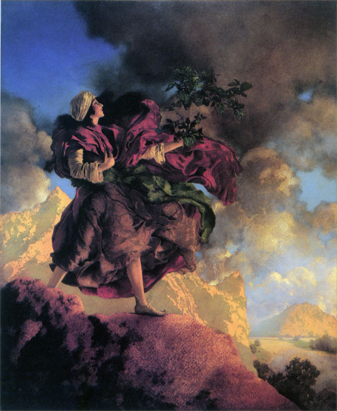 Talking Bird, by Maxfield Parrish, illustration to Arabian Nights