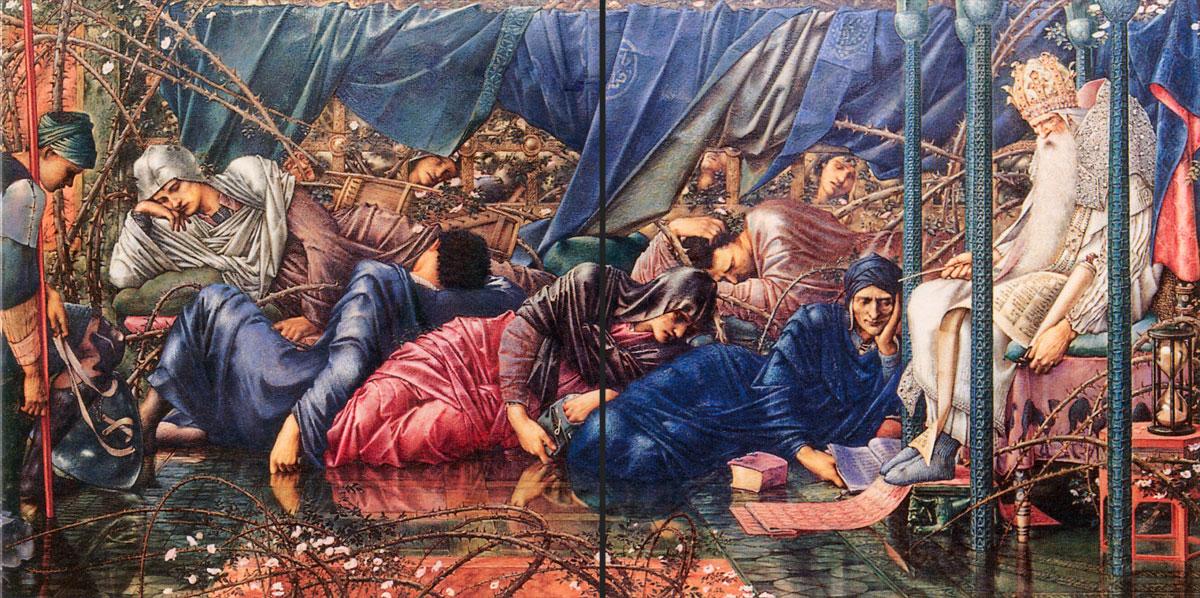 The Council Chamber border tiles from Edward Burne-Jones Briar Rose series.